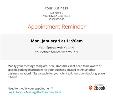 Sending Automated Appointment Emails To Clients Massagebook Appointment Reminder Template Email
