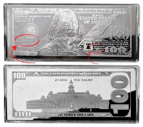 1 Troy Pound Dollar 100 Dollar Note Silver Bar - 2015 100 4oz silver currency silver bars franklin design