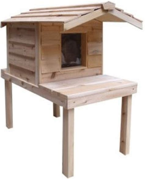 outside cat house insulated cedar outdoor cat house with lounging deck and extended roof purrfect