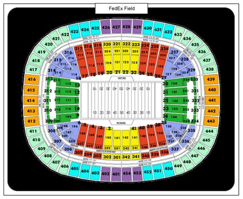 Fedexforum Box Office Hours by Redskin Seating Chart At Fedex Field Stadium Diagrams