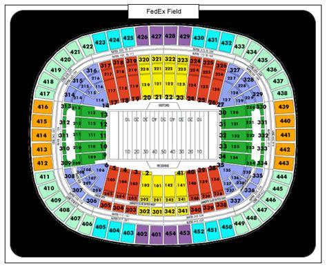 redskins seating chart redskin seating chart at fedex field stadium diagrams
