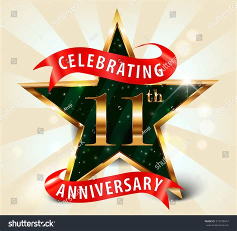 11 year anniversary celebration golden stock vector 215798614