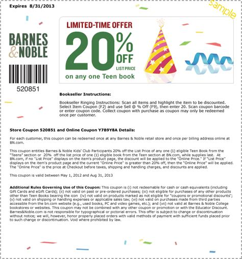 printable gift card barnes and noble barnes and noble coupons november 2014