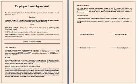Loan Agreement Letter Exle Free Employee Loan Agreement Templates Free Templates