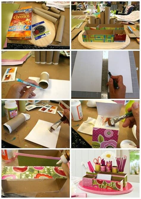 How To Make A Desk Out Of Paper - recycled craft diy desk organizer mod podge rocks