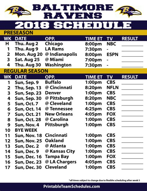 Printable Ravens Schedule 2015 | 2014 2015 complete nfl football schedule autos post