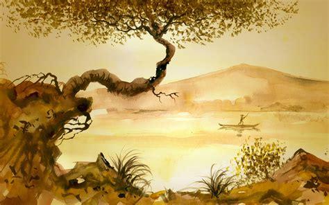 asian painting images junk tree grass asian lake painting mood wallpaper