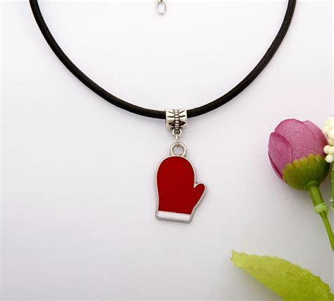 10pcs zinc alloy drop glaze gloves charm pendants black leather rope necklace fashion
