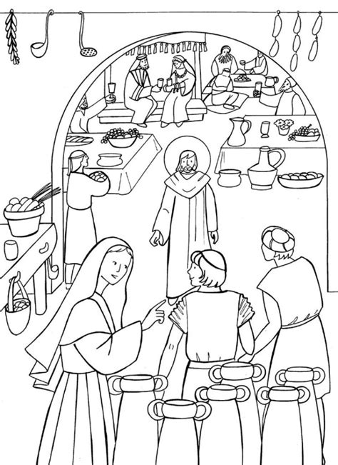Bible Wedding Cana by Marriage At Cana Coloring Page Wedding At Cana Bible