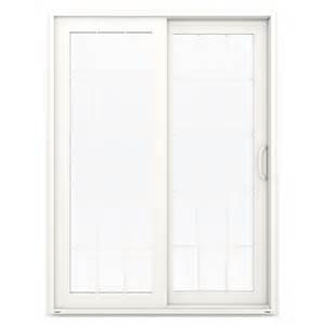 Vinyl Sliding Glass Doors Shop Jeld Wen V 4500 59 5 In 15 Lite Glass White Vinyl Sliding Patio Door With Screen At Lowes