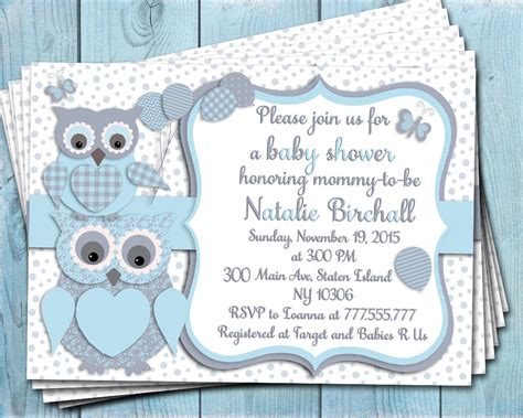 printable owl boy baby shower invitations blue grey owl baby shower printable invitation baby boy