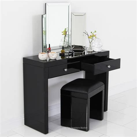 Glass Vanity Table Mirrored Black Glass Dressing Table Stool Archives The Furniture Market