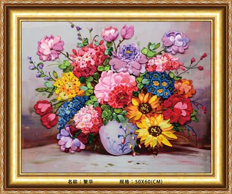 L Kits For Vases by Needlework Diy Ribbon Cross Stitch Sets For Embroidery Kit