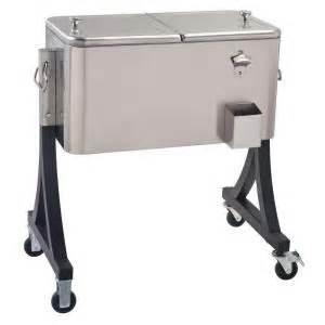 60 qt stainless steel patio cooler cart deck cooler