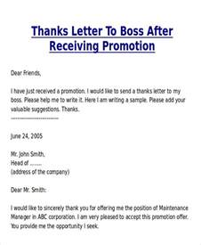 Thank You Letter To My Boss Sample Sample Thank You Letter For Promotion 7 Examples In