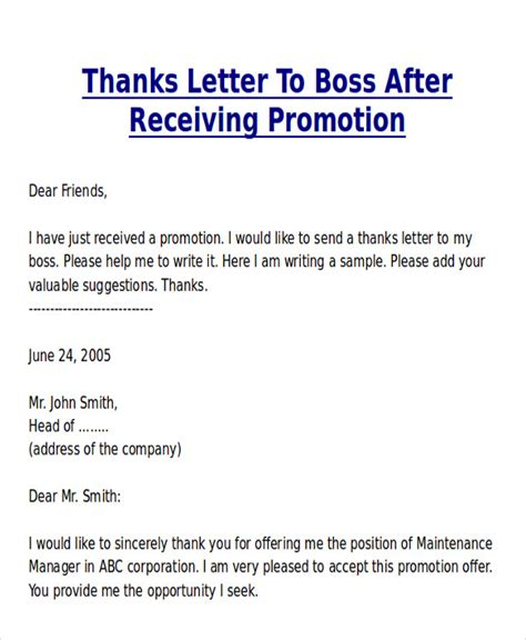 Thank You Letter For Promotion Sle Sle Thank You Letter For Promotion 5 Exles In Word Pdf