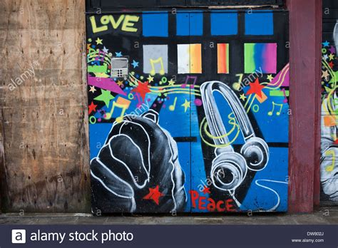 Garage Theme Song by Graffiti On A Garage Doors With Peace And