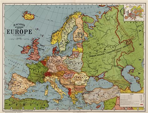 ebay europe old map of europe in 1920 76x58cm by g w bacon repro