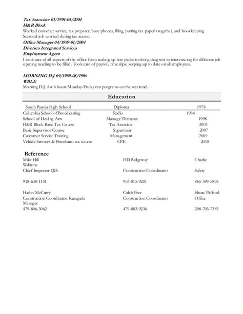 Resume H R Block by H R Block Cover Letter Cover Letter