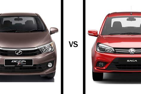perodua myvi vs proton new saga blm review comparison head to head proton saga premium vs perodua bezza advance