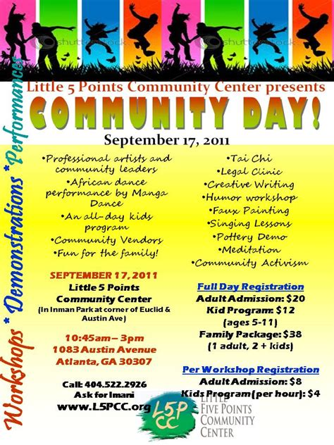community event flyer template community day 9 17 11 5 points center for arts
