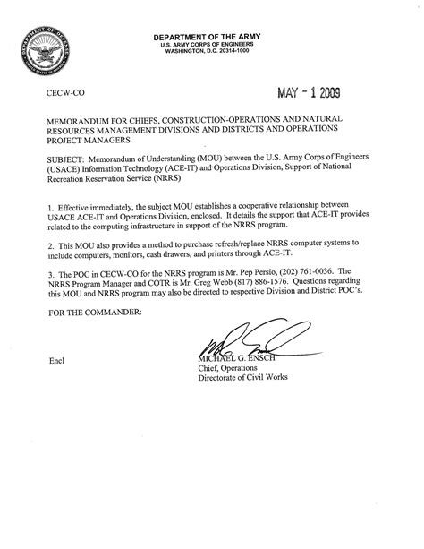 memorandum of agreement template army 10 best images of sle army memorandum of understanding