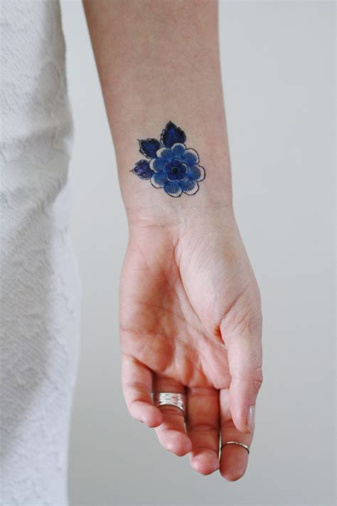 blue flower tattoo small delft blue flower temporary tattoos by