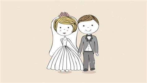 Wedding Animation by Just Married 2d Animation Loop Stock Footage