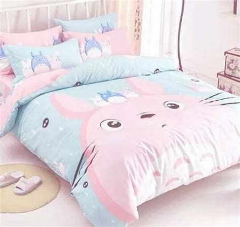 kawaii bed cute decoration kawaii pink room totoro image