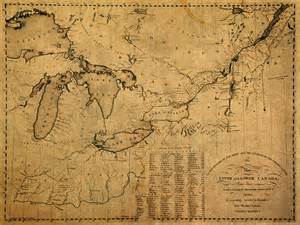 great lakes and canada vintage map on worn canvas circa