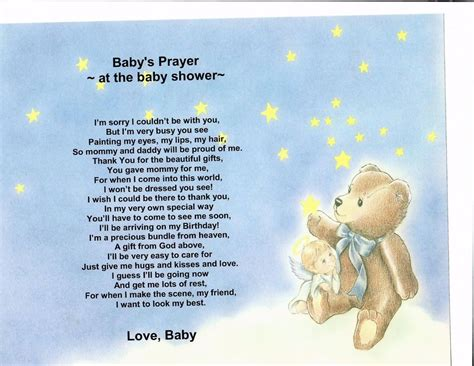 Opening Prayer For Baby Shower by Baby Shower Poem Personalized Name Print Prayer Ebay