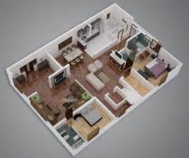 Home Plans With Apartments Attached 25 More 3 Bedroom 3d Floor Plans