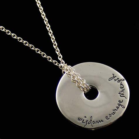 wisdom courage strength necklace quote jewelry dvb