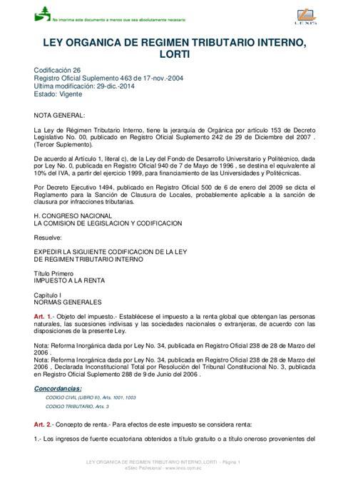 ley organica de regimen tributario interno de ecuador 2015 ley de regimen tributario interno 2016 ecuador ley de