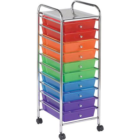 plastic tool cart with drawers 10 drawer rolling organizer