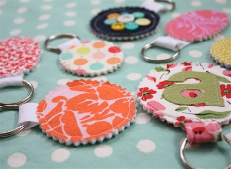Handmade Keychain Ideas - gift ideas fabric scrap keychains for