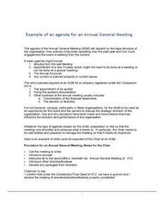 example of an agenda for an annual general meeting free