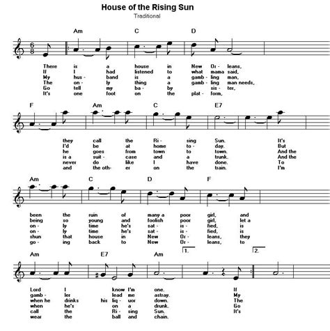 house of the rising sun music notes free sheet music for traditional songs