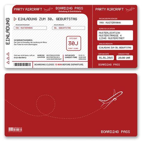 Einladungskarten Rot by Einladungskarten Als Eintrittskarte Flugticket Bestellen