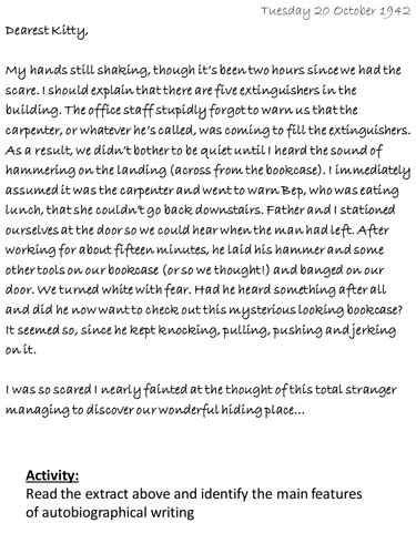 biography extracts ks2 autobiographical writing by johncallaghan teaching