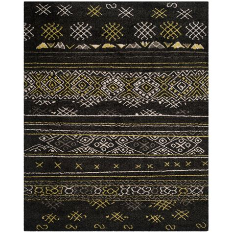 green and black area rugs safavieh tibetan shag black green 8 ft x 10 ft area rug tbs547a 8 the home depot