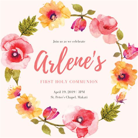 spring wreath first holy communion invitations first leaves clipart clipground