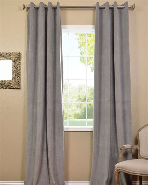 grey silver curtains grommet silver grey velvet blackout curtain panel