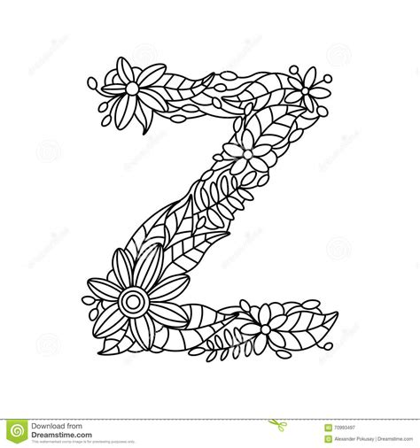 z coloring book letter z coloring book for adults vector stock vector