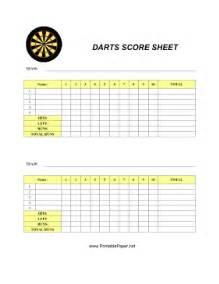 printable darts score sheet