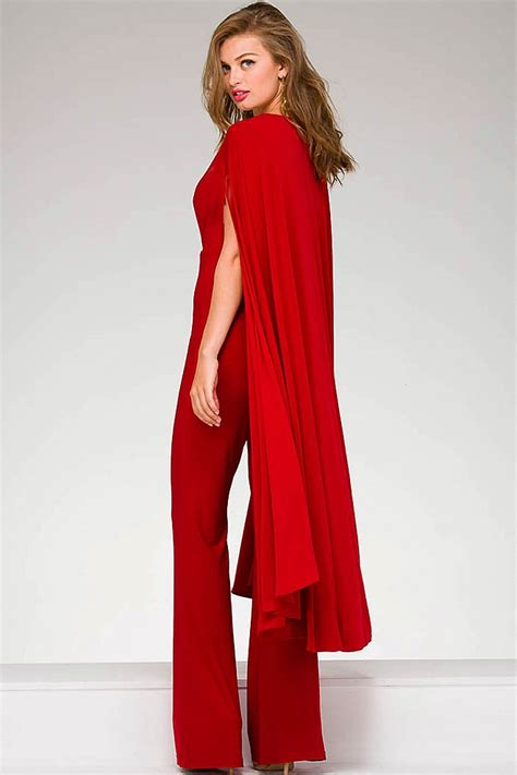 Jersey v neck jumpsuit with cape adornment back and ruched