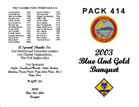 Blue And Gold Banquet At Cub Scout Pack 414 Blue And Gold Banquet Program Template