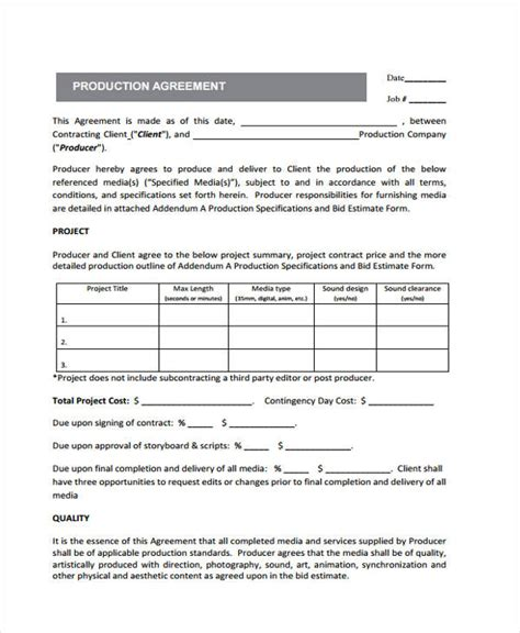 production contract production contract templates 9 free word pdf format