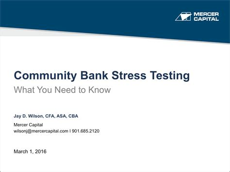 Community Bank Stress Testing: What You Need to Know   Mercer Capital
