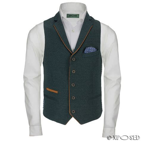 New Vests by New Mens Stretch Blue Green Waistcoat Smart Casual Slim